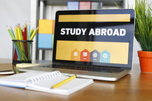 laptop with study abroad on screen